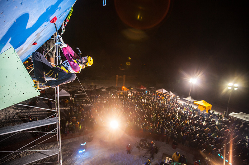 Angelika Rainer competing in the Ice Climbing World Cup at Bozeman, Montana, USA