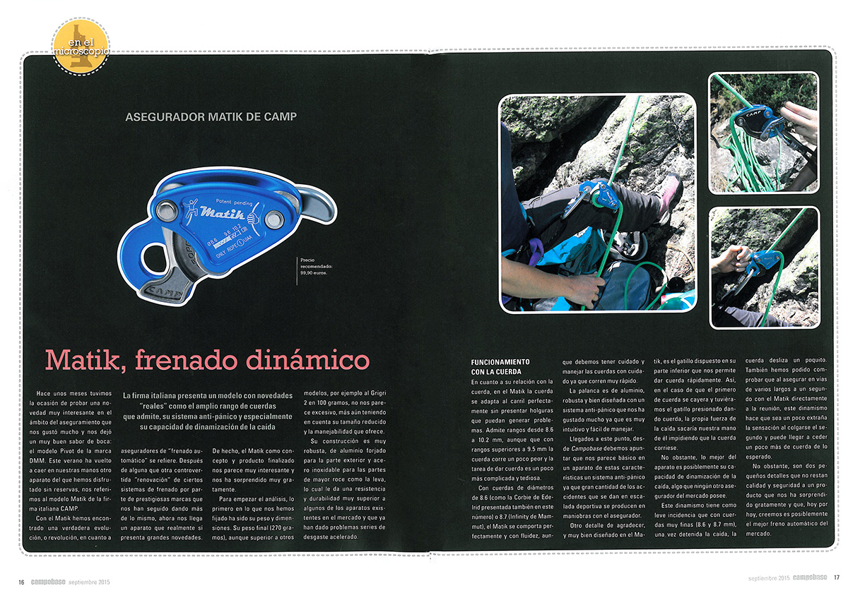 Campo Base magazine highlights the Matik amazing features