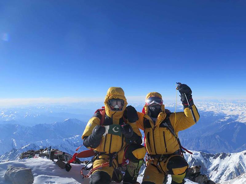 Ali Sadpara and Simone Moro on the summit of Nanga Parbat on 26/02/2016
