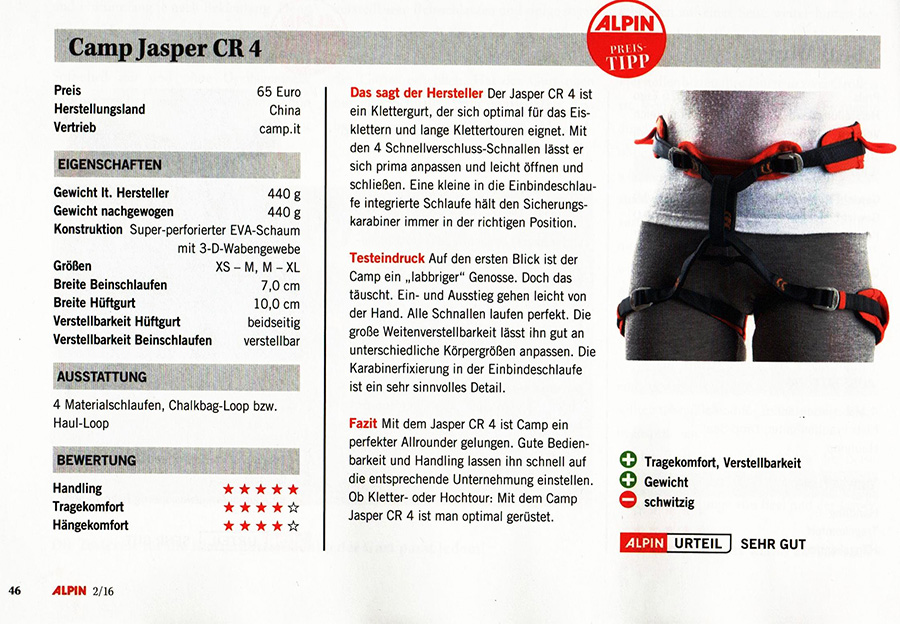 """The Jasper CR 4 harness got one more important international award. Our super comfortable harness gained Alpine magazine """"Preistipp"""" prize, that emphasizes both the amazing features of the Jasper CR 4 and its extremely interesting price."""