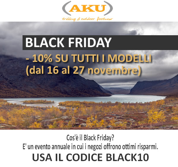 Dal 16 al 27 novembre 2016 10% di sconto su tutti i modelli AKU.