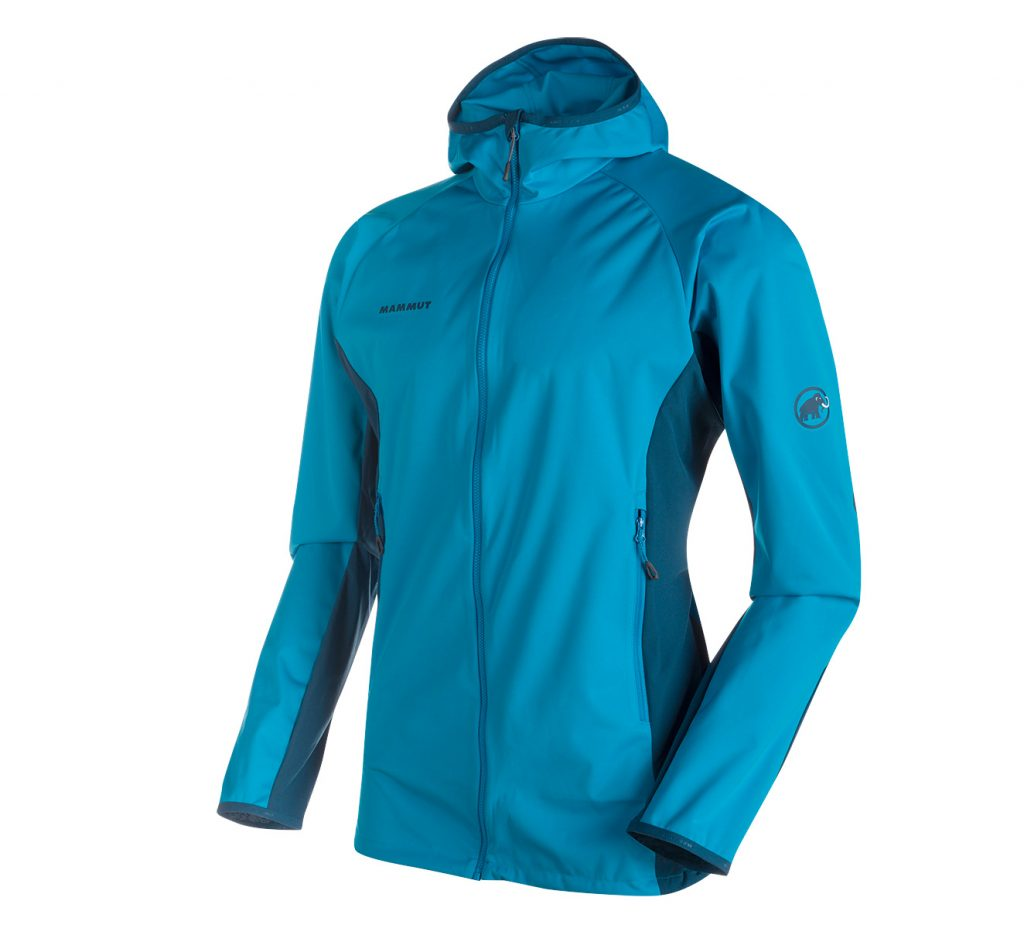 The Kento Light SO Hooded Jacket Men is a lightweight, breathable and thin softshell jacket for mountain hiking and climbing tours.