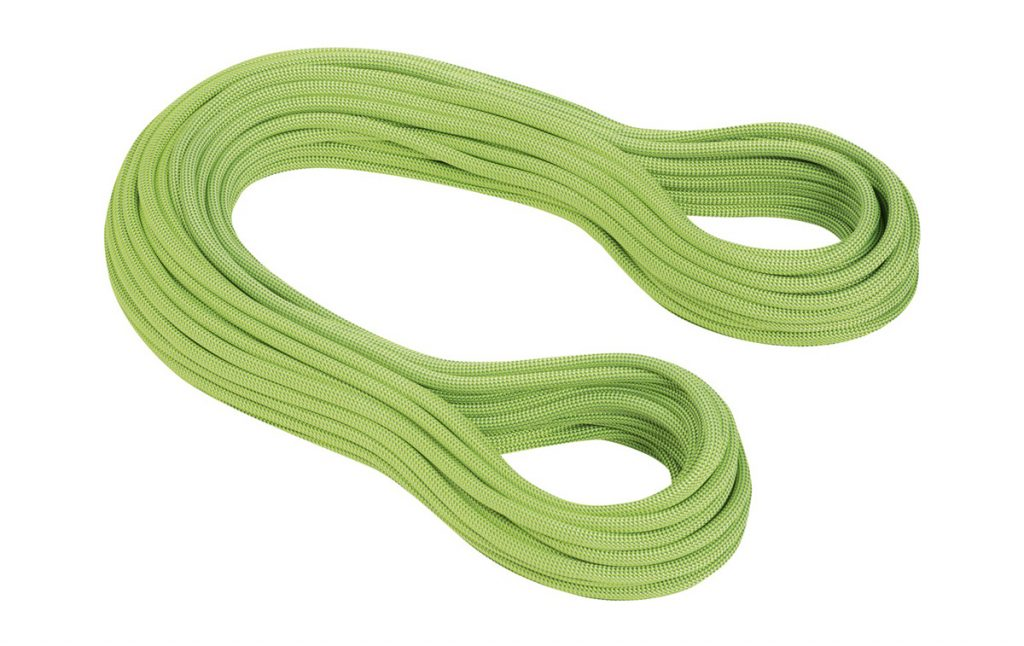 The climbing rope Serenity Dry 8.7mm by Mammut, ideal for sport climbing and mountaineering.