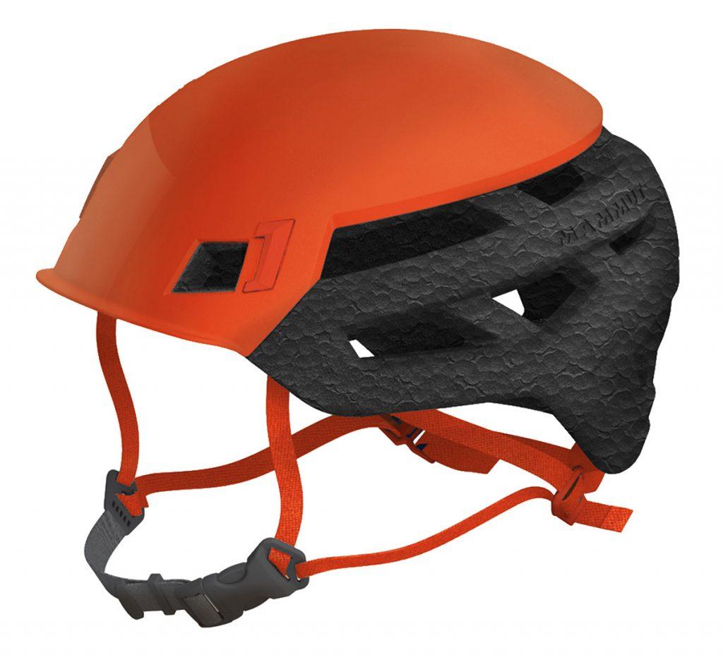 The top-class, ultra lightweight rock climbing helmet Wall Rider by Mammut, ideal also for via ferrata