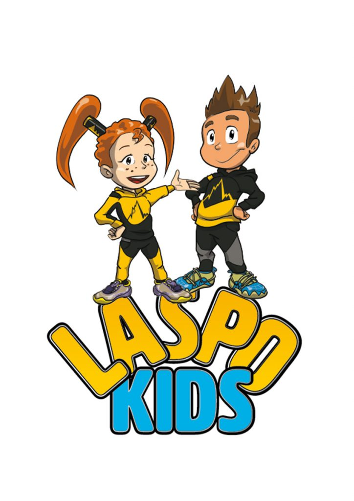 LaspoBoy and LaspoGirl the friendly mini-heroes with superpowers provided by their shoes, a present which they receive from Adam Ondra who appears in comic form to guide the children through the discovery of nature and mountain sports.