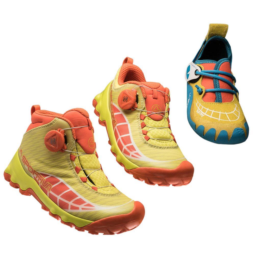 LaspoKids: La Sportiva presenta le scarpette da arrampicata per bambini, lo scarponcino da trekking da bambino e la calzatura per la corsa in montagna per bimbi.