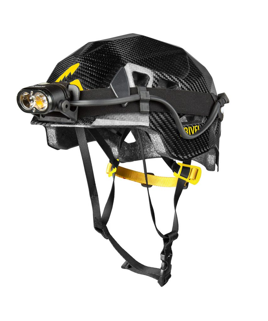 Stealth Carbon climbing helmet by Grivel, with headlamp