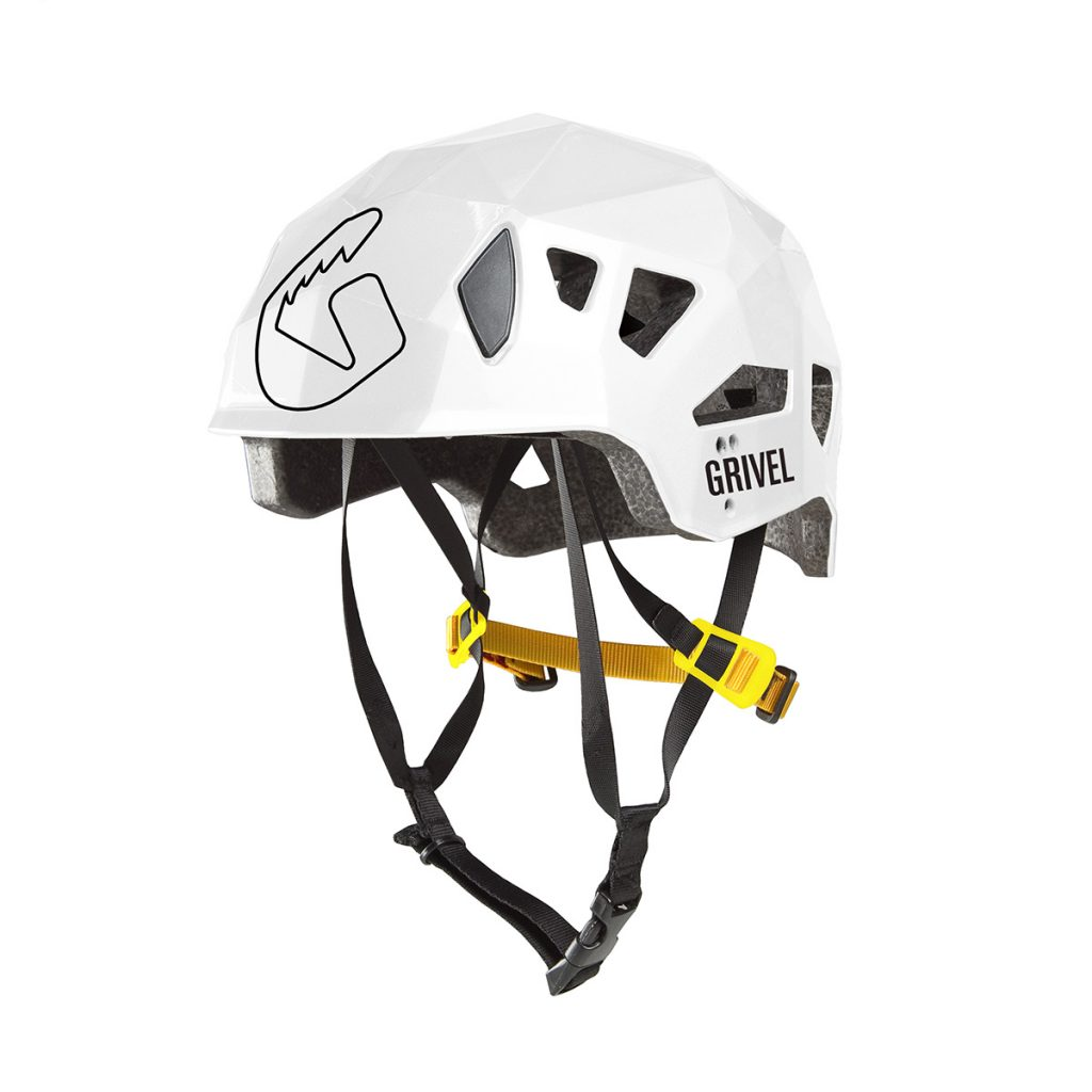 Hard-shell mountaineering helmet by Grivel.