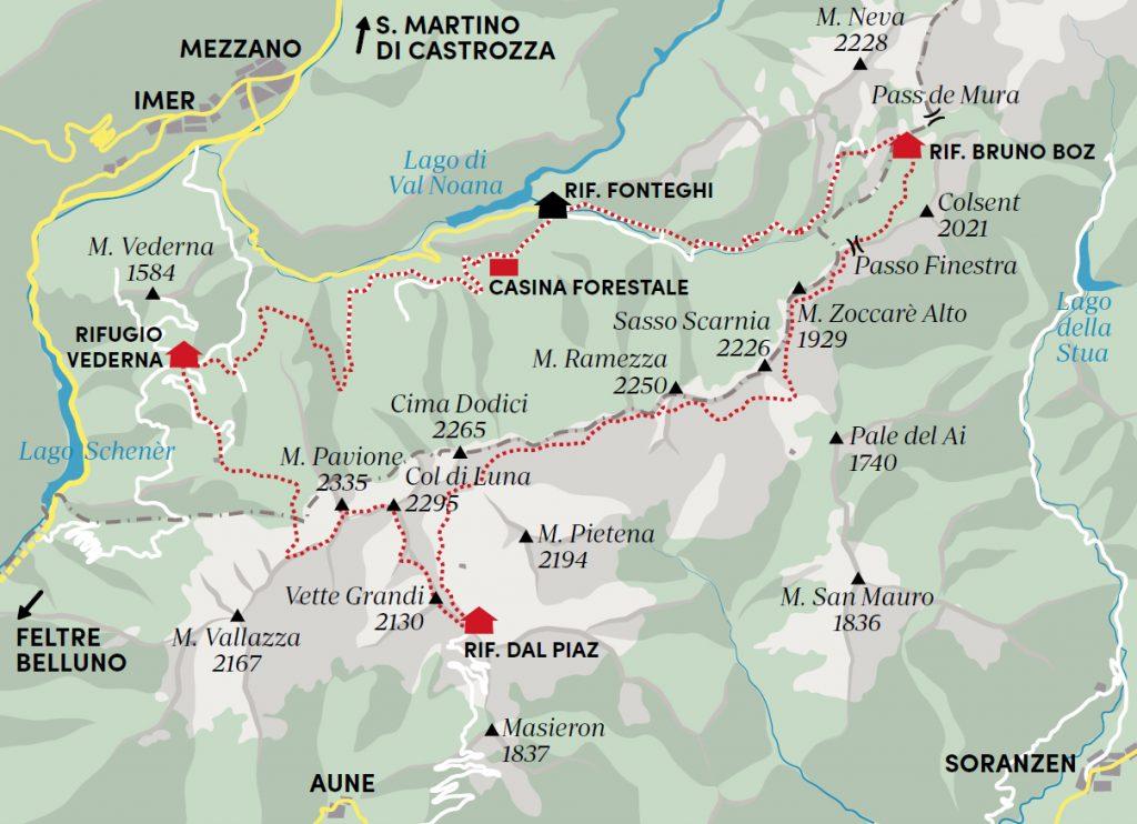 La mappa della via del confine pacifico nelle Vètte Feltrine