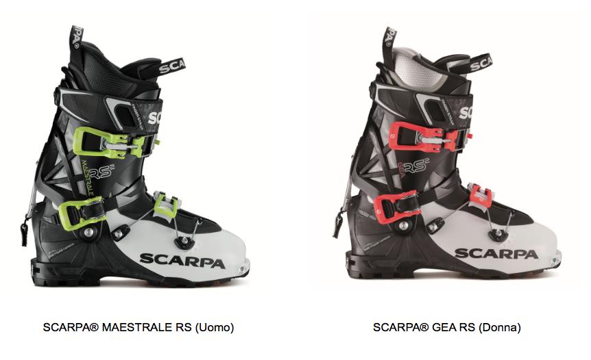 SCARPA® MAESTRALE RS e per lo sci alpinismo in rosa, il modello corrispondente è SCARPA® GEA RS