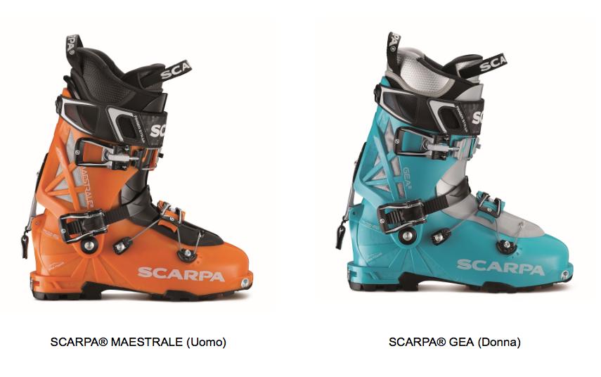 SCARPA® MAESTRALE e per lo sci alpinismo in rosa, il modello corrispondente è SCARPA® GEA