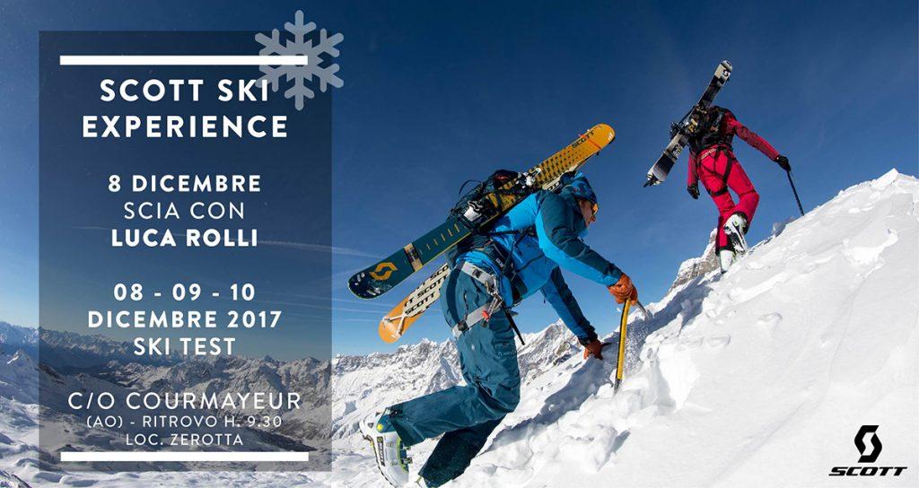 Dal 8-10 dicembre a Courmayeur (AO), il Scott Ski Experience di Scott Italia ed una escursione guidata con le guide alpine Luca Rolli e Matteo Boffi.