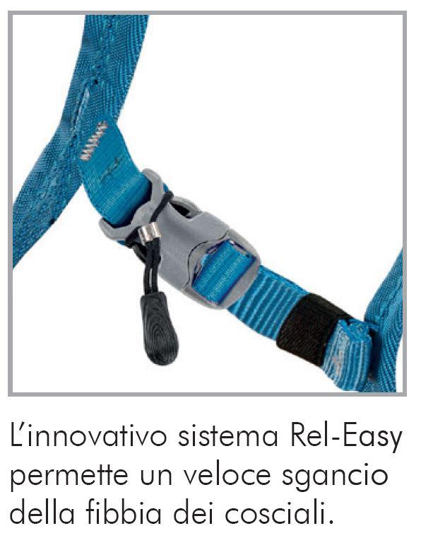 """Leggero imbrago Tami: con innovativo sistema Rel-Easy"""", che permette un veloce sgancio della fibbia dei cosciali dell'imbracatura, anche anche con i guanti"""
