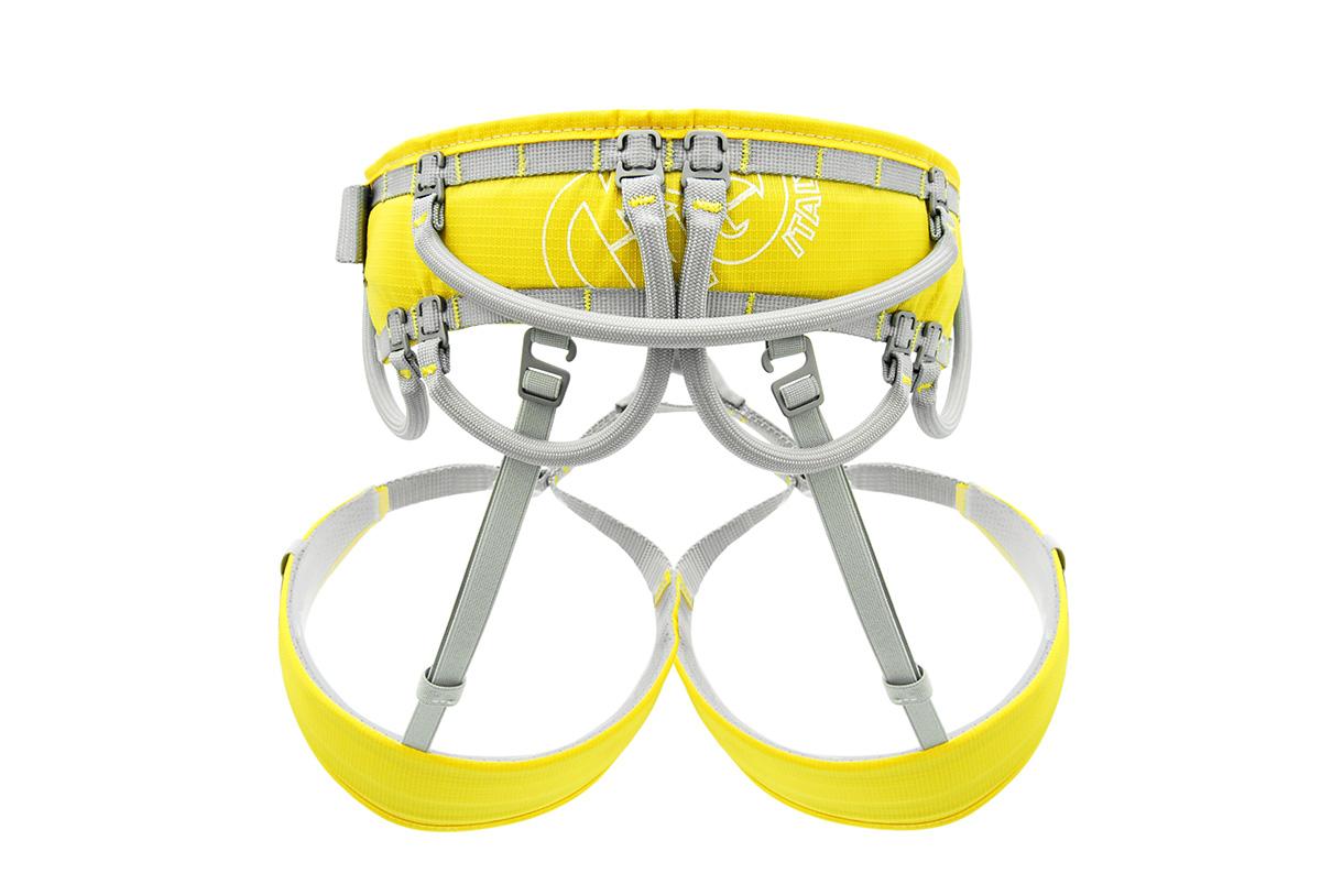 Rivoluzionaria imbragatura arrampicata Aeron Flex con sistema di porta-materiali personalizzabile
