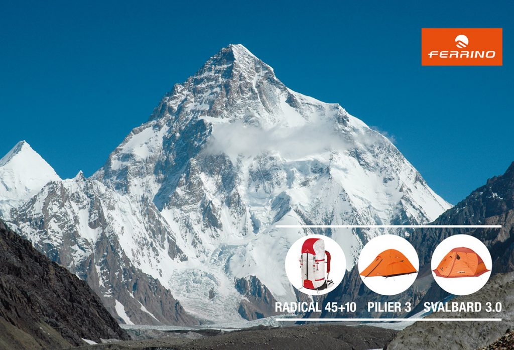 Ferrino is the technical sponsor of the Polish expedition to climb K2 in winter .K2 is the last 8,000 to have never been climbed during the winter season, the second highest peak of the Earth (8611 m).