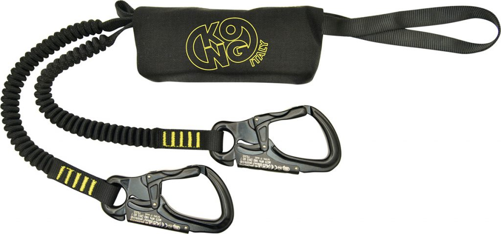 Via Ferrata set made with 20 mm tubular webbing lanyards with inner elastic (length min. 85 cm - max. 120 cm) and Tango alu alloy carabiners with double gate safety system.