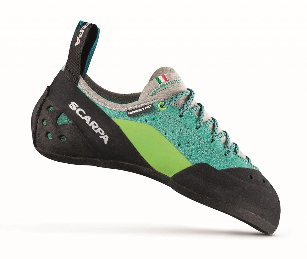 Trad climbing shoes for women Maestro ECO WMN offer stability for standing on small edges and enough flex for smearing