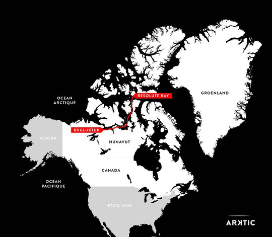 The route Alban Michon will take while exploring the Arctic