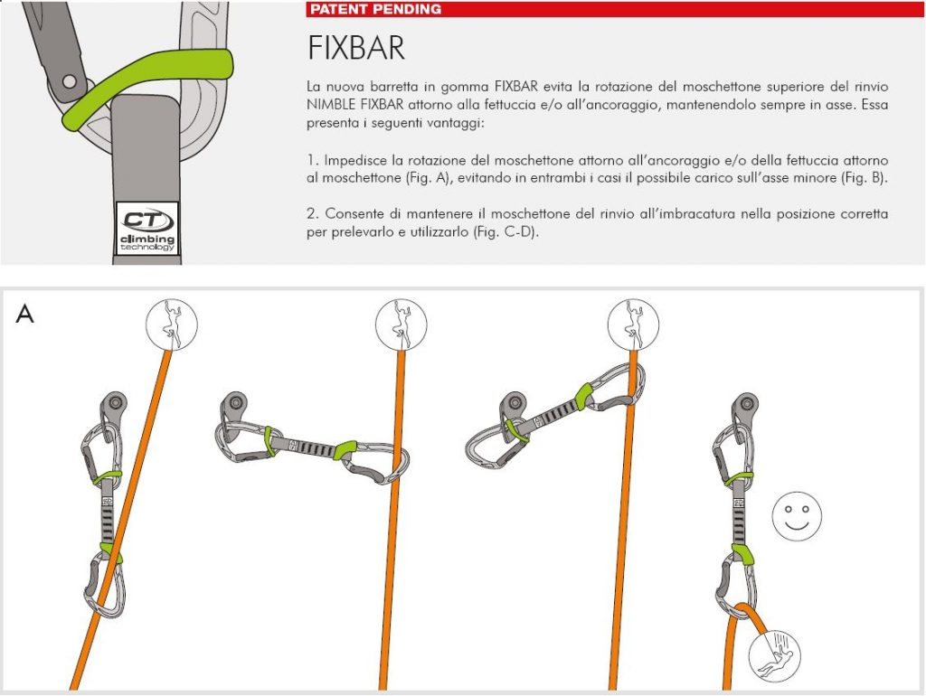 The new rubber retaining bar FIXBAR which prevents the top carabiner from rotating around the sling and/ or anchor, avoiding the possibility of cross-loading the minor axis of the carabiner and with the FIXIT rubber fastener on the lower carabiner, which prevents accidental rotation during use and protects the sling from wear and tear.