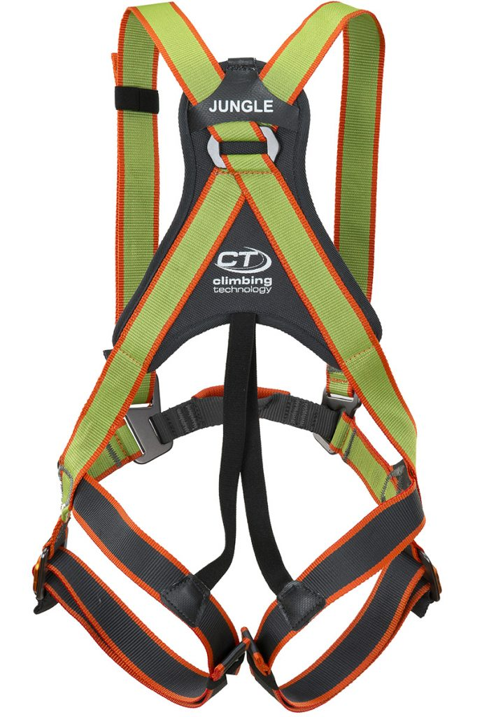 Full-body harness, completely adjustable, for children. Developed for adventure parks and sport climbing.