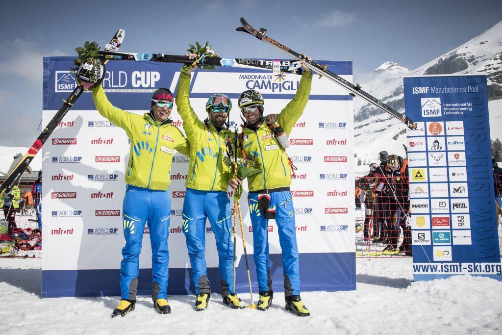 Coppa del Mondo di Sci Alpinismo a Madonna di Campiglio: 2. Michele Boscacci (ITA) 1. Robert Antonioli (ITA) 3. Matteo Eydallin (ITA) © Riccardo Selvatico