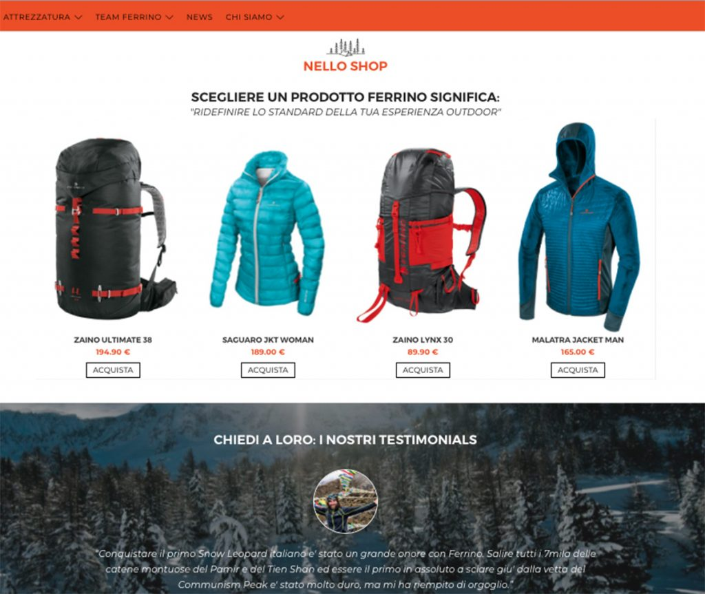 The new website Ferrino Outdoor: a real revolution for the historic Italian outdoor brand.