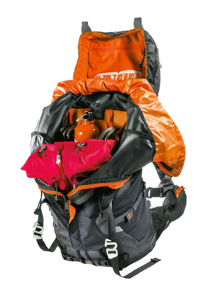 Ferrino backpack with extending body (+10 litres) and handy front access to the backpack body.