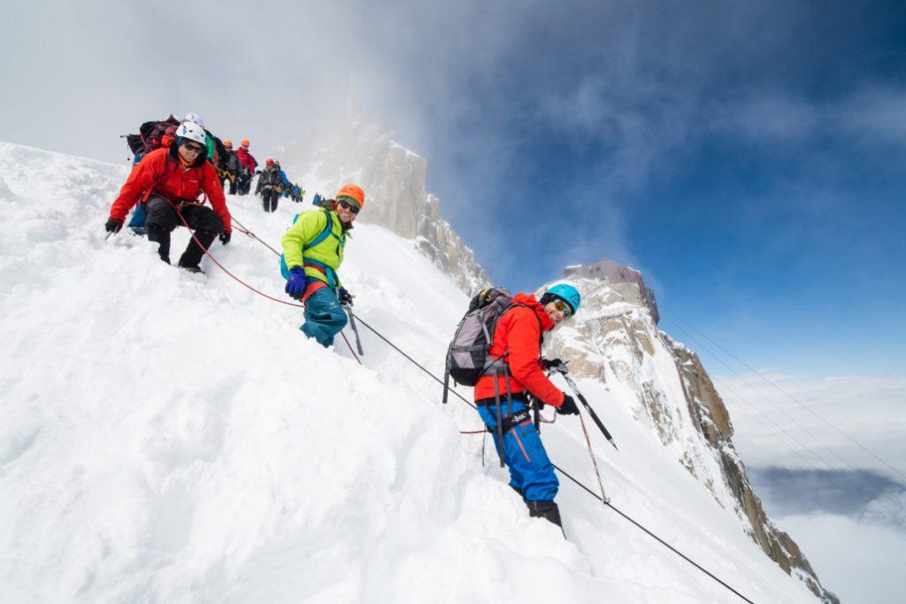 Durante il Arcteryx Alpine Academy a Chamonix Mont Blanc