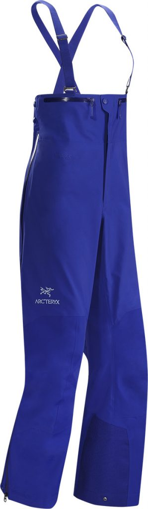 Ski Salopettes Beta SV Bib by Arcteryx, for skiing and mountaineering. In waterproof, breathable goretex, with easticized waist to keep out cold and snow.