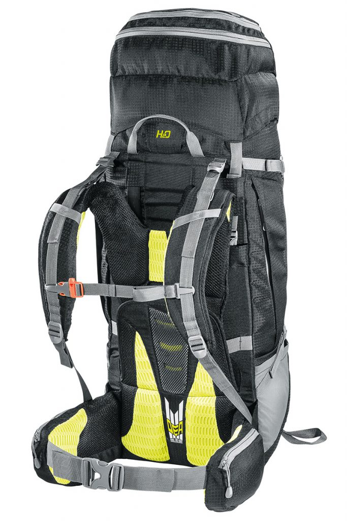 Ergonomic, padded and quilted shoulder straps and waist belt in breathable mesh fabric: the trekking backpack Overland by Ferrino