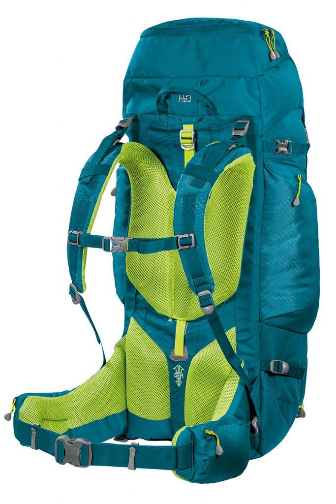 Ergonomic back of the trekking backpack for women Transalp 60 Lady