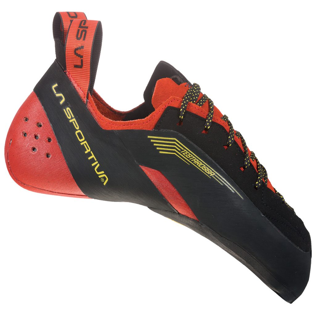 """La Sportiva Testarossa climbing shoe: totally """"rebooted"""" with the addition of an important technical update on the heel, to meet the needs of demanding boulder climbers and modern climbers on overhanging walls"""