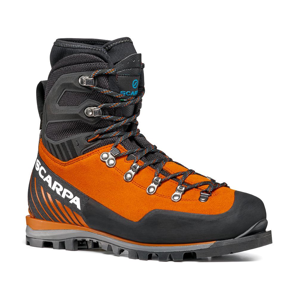 Scarponi per alpinismo Mont Blanc Pro GTX di SCARPA con tomaia in pelle scamosciata; alpinismo tecnico, escursionismo alpino, percorsi misti.