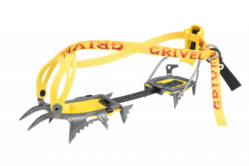 A new generation of mountaineering crampons by Grivel, 10 points in contact with ice while you're walking, 12 that bite into the slope during traverses.