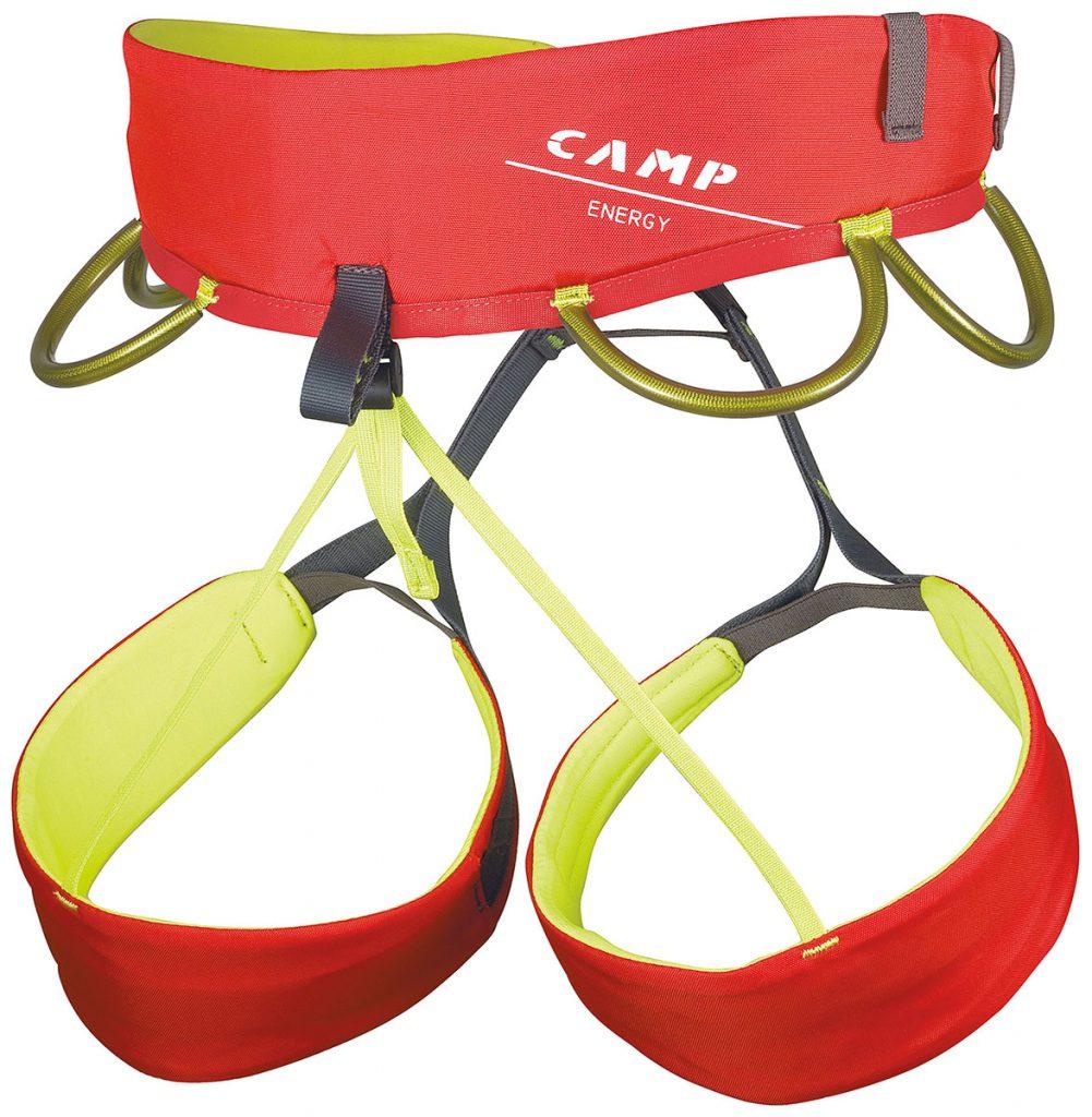 Energy - imbracatura da arrampicata di CAMP, leggera e confortevole in grado di soddisfare le esigenze del più ampio range di utilizzatori.
