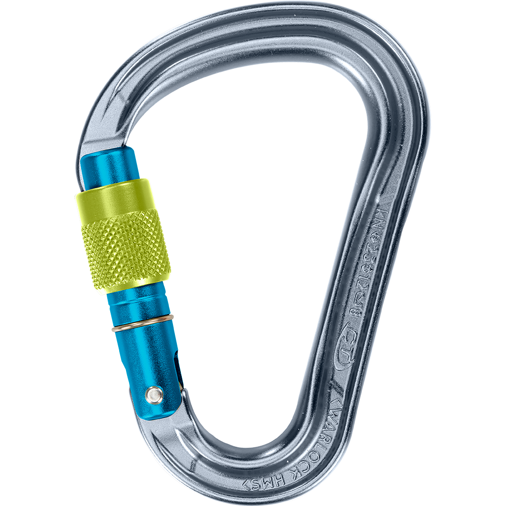Climbing Technology Warlock, a compact and lightweight HMS screwgate carabiner for trad climbing, sport climbing and mountaineering.