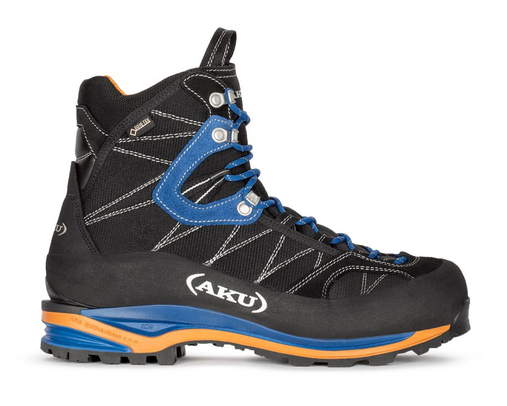 Crampon compatible mountaineering boots AKU Tengu GTX; a lightweight, high performance boot ideal for use in dynamic situations on mixed terrain.