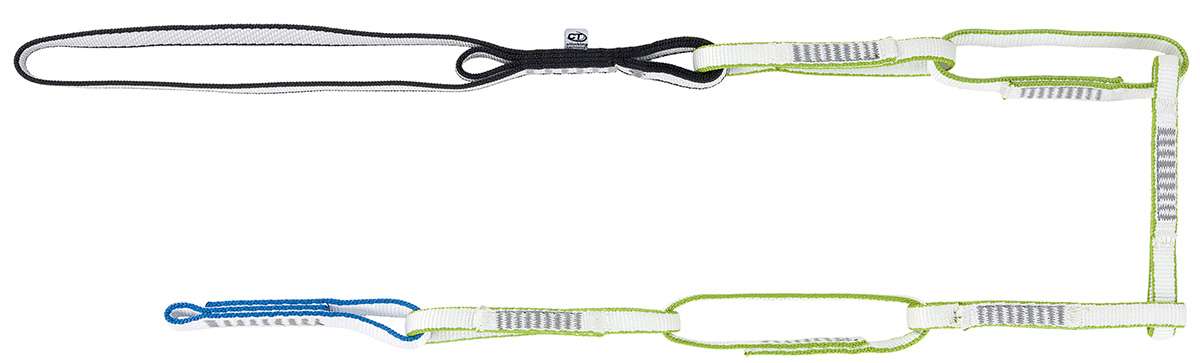Daisy chain per arrampicata ad anelli Multi Chain Evo di Climbing Technology, con fettuccia in Dyneema per vie lunghe e per l'alpinismo in generale.