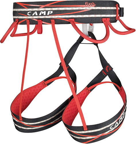 Sport climbing harness Flash by CAMP, with 4 gear loops.