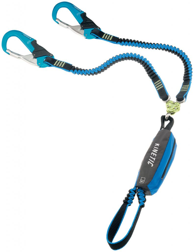 Via Ferrata Lanyard Kinetic Gyro Rewind Pro by CAMP with shock absorber, super-safe carabiners and Gyro system designed to eliminate twisting and tangling.