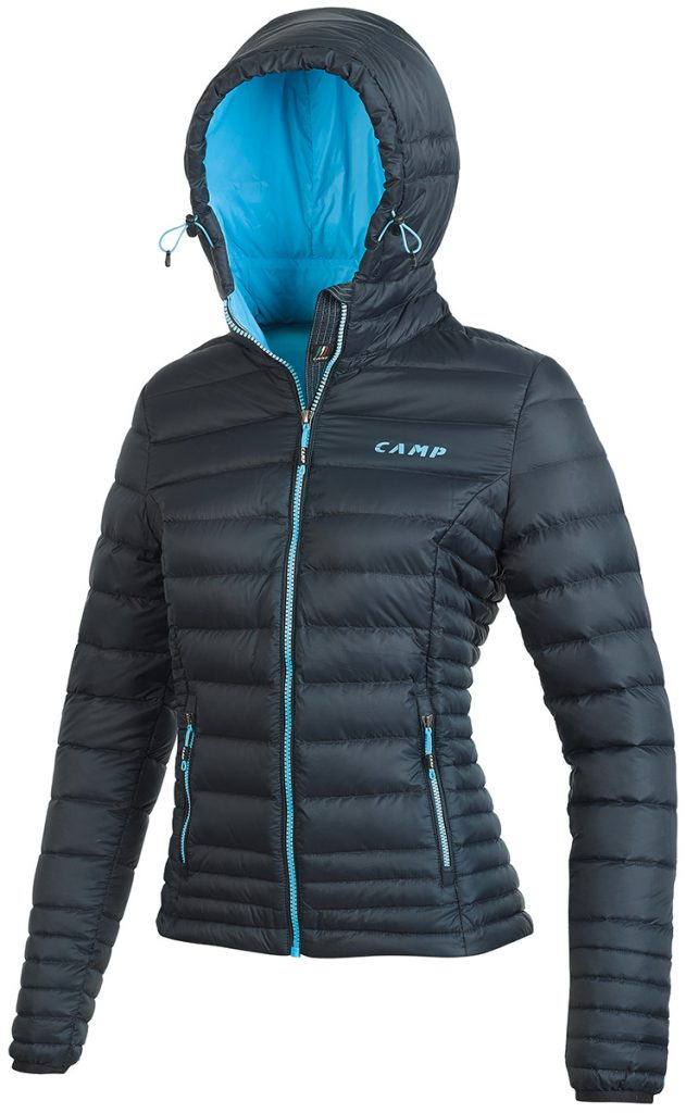 Giacca da alpinismo da donna ED Motion Jacket Lady di CAMP un piumino d'anatra di prima qualità di 320 g e con esterno Durable Water Repellent.