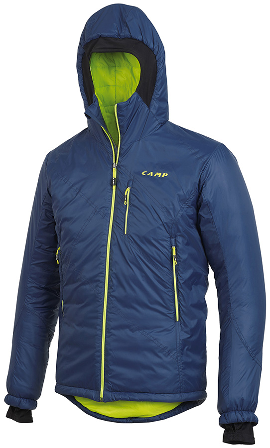 Men's Climbing Jacket Blade by CAMP for alpinism and ski mountaineering with PrimaLoft insulation, weighing just 560 grams.