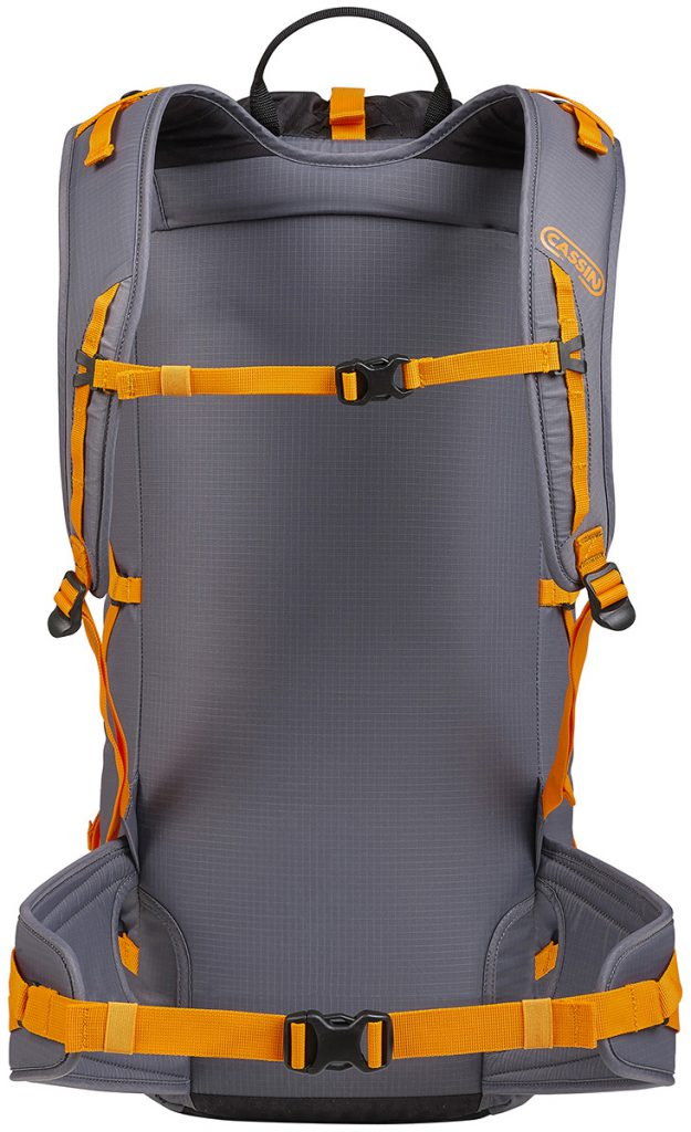 Cassin Eghen 35 rucksack with ergonomic padded shoulder straps with load adjustment are connected high on the pack or better weight distribution while climbing