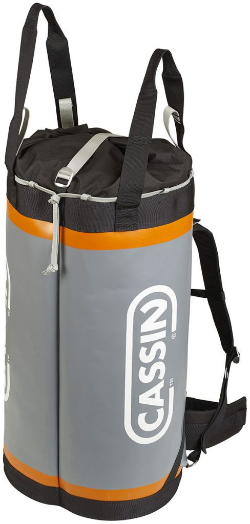 Climbing haul bag Cassin Torre 70, backpack for multi-day aid climbs, with structural crossed webbing attachment points on the bottom for clipping a portaledge, sub-bag or poop tube