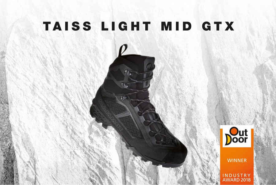 New mountaineering boot Mammut Taiss Light wins OutDoor INDUSTRY AWARD, ideal for multipitch rock climbing, via ferrata, classical alpinism, mixed and ice climbing.