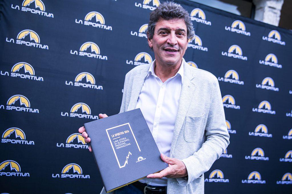 Lorenzo Delladio of La Sportiva with the award-winning book 'La Sportiva 90th, a history of alpinism, passion, innovation'