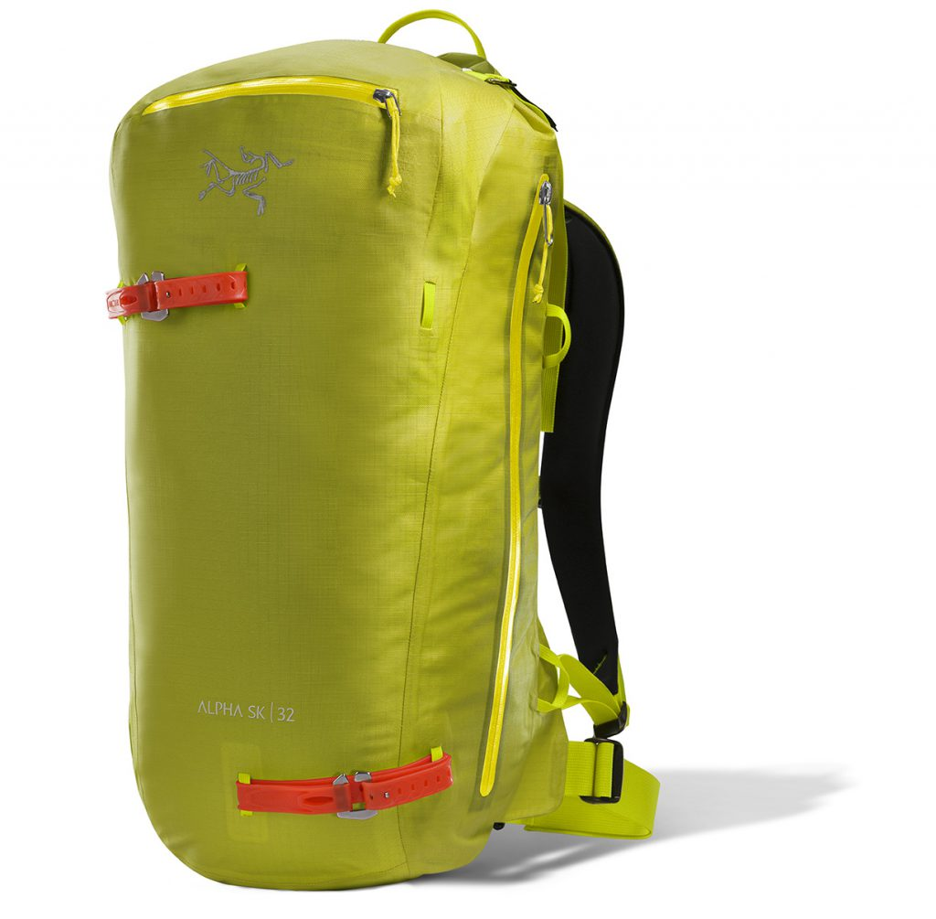 Mountaineering Backpack Alpha SK 32 Pack by Arc'teryx, versatile, adaptable, exceptionally weather resistant pack designed for freeride ski touring.