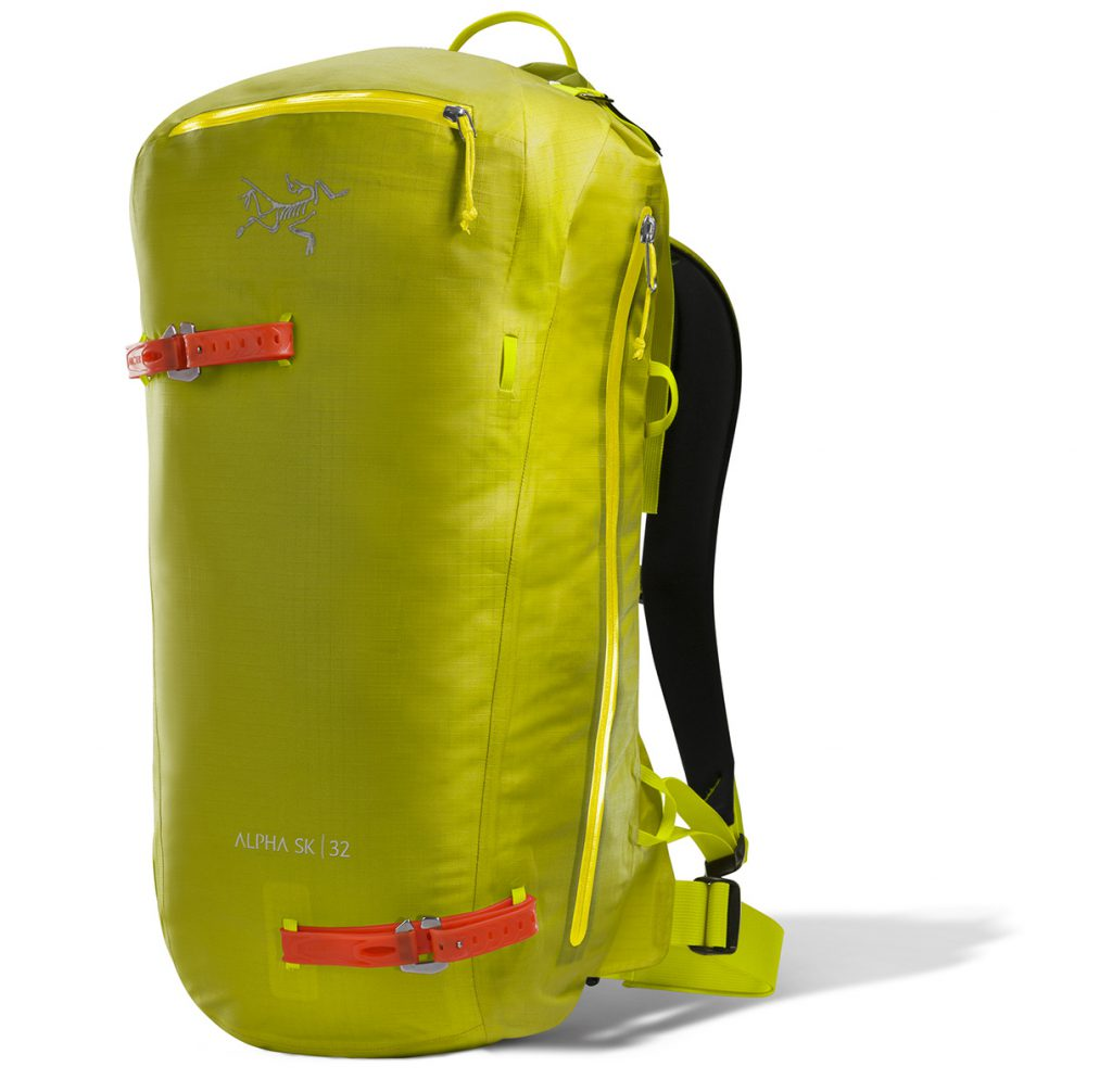 The Arc'teryx Backcountry touring pack Alpha SK 32 designed specifically for freeride touring and ski alpinism, with straps for skis and snowboard