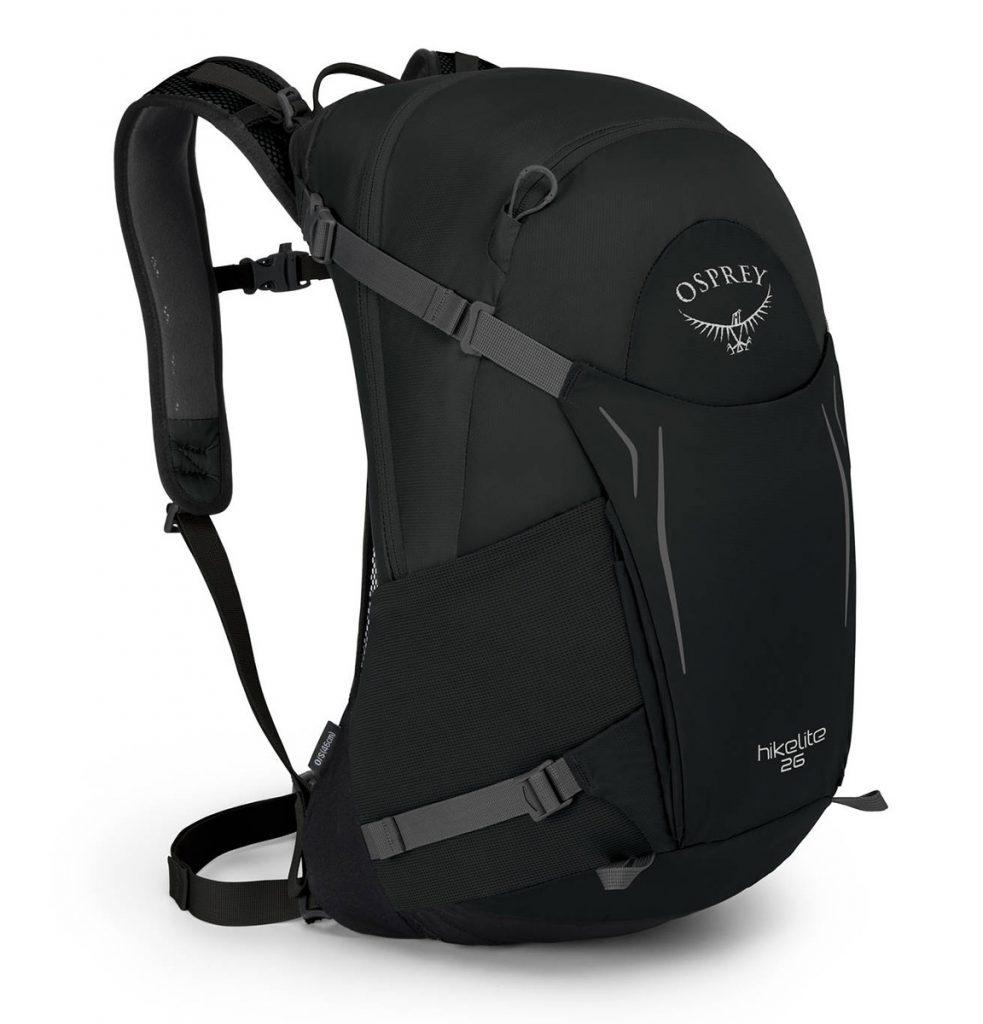 Zaino da viaggio Osprey Hikelite, leggero e robusto, ideale per escursioni in giornata con coprizaino parapioggia integrato.