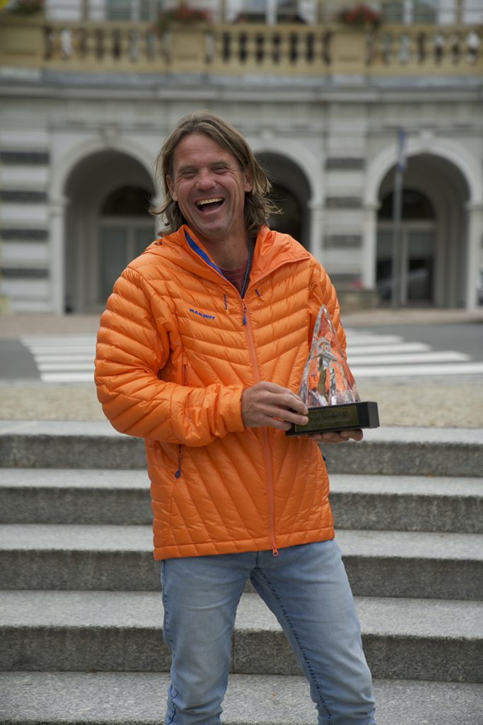 Mammut athlete Marek Holecek receives 2018 Piolets d'Or award for new climb up the 8000 meter mountain Gasherbrum, ascended with Zdenek Hak.
